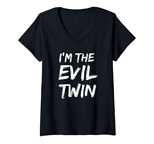 Womens I'm The Evil Twin Funny Halloween Siblings Matching Outfits V-Neck T-Shirt