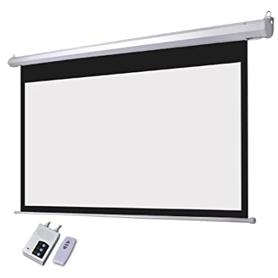 "Electric Projector Matte White Screen 100"" 16:9 87x49 In. View Area Switch Auto Remote Control RC Wall Ceiling Mounted Steel Case for Home Office Projection Panel"