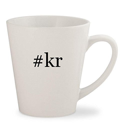 #kr - White Hashtag 12oz Ceramic Latte Mug Cup