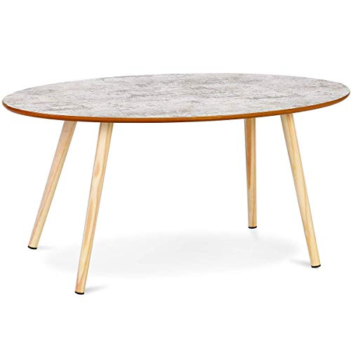 Solid Wood Coffee And End Tables For Sale: Giantex Oval Coffee Table Modern Sofa Side Table Accent