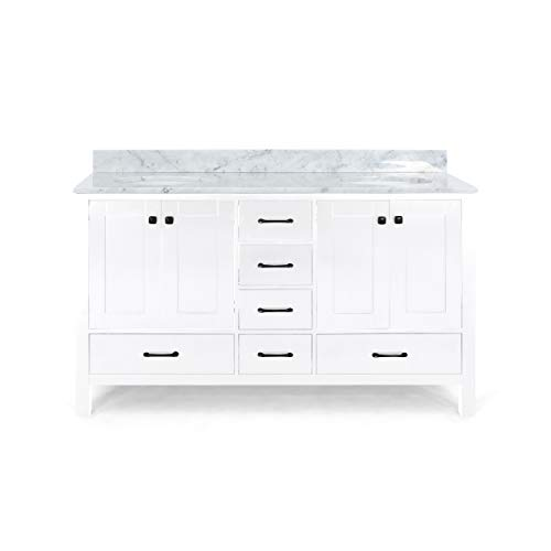 """Laranne Contemporary 72"""" Wood Double Sink Bathroom Vanity with Marble Counter Top, White with Carrara White Marble"""