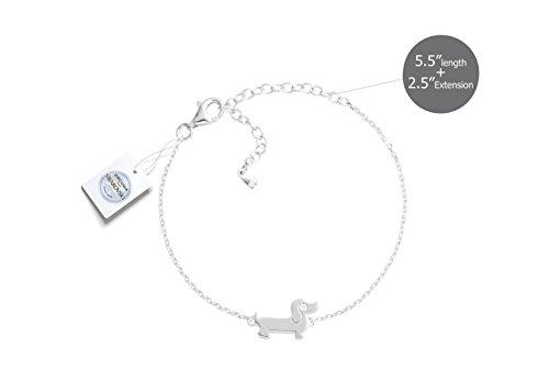 Vivid&Keith Womens Girls 925 Real Sterling Silver 18K Plated Swarovski Zirconia Cute Animal Dog Gift Fashion Jewelry Link Chain Charm Pendant Bangle Bracelet, Dachshund, White Gold - Cute Dachshund