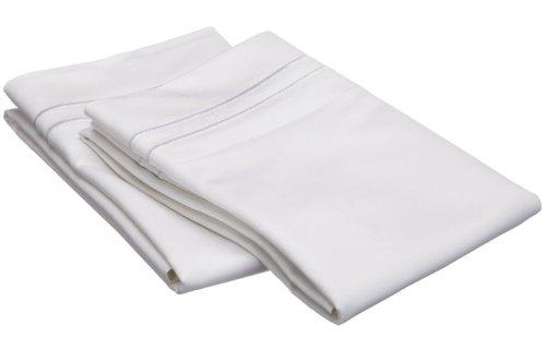 Superior 800 Thread Count, 100% Egyptian Cotton, Single Ply Pillowcase Set, Standard, White with White Embroidery