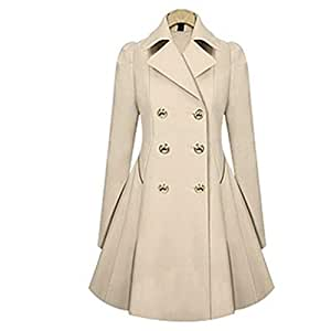 Women's Trench Coat Lapel Long Double Breasted Jacket Warm Plus Size Outwear for Autumn and WinterM-XXL,White,XXL