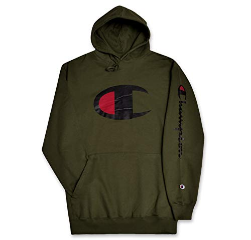 - Champion Big and Tall Mens Fleece Pullover Hoodie with Big C Logo Olive 3X