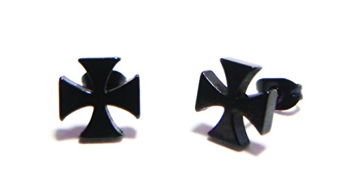 7MM Black Maltese Patty St. George's Cross Stud Earrings, 316L Stainless Steel Posts, Semi-Matte Finish