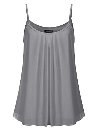 - SSOULM Women's Pleated Chiffon Layered Cami Cool Short Tank Tunic Top Charcoal 1XL