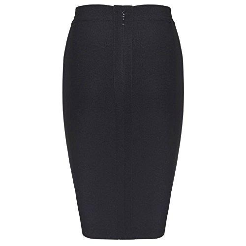 Bandage Women HLBandage High Noir Skirt Rayon Knee Length Waist RgffcHqY4p