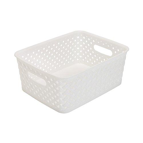 Simplify's Small Resin Wicker Storage Bin in White