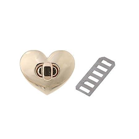 Junlinto chiusura a forma di cuore con girello Twist lock Hardware in metallo per DIY borsa borsa borsa, metallo, Bronze, 10 mm