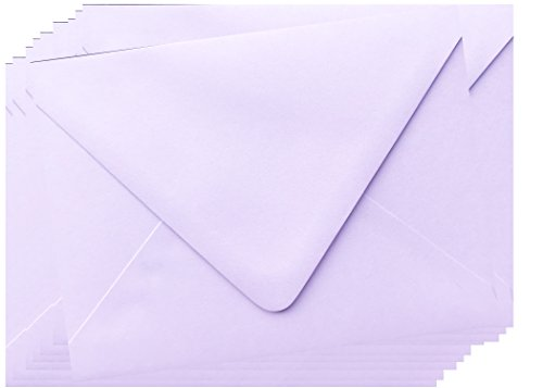 Special Sale! Light Lavendar Purple Contour Euro Flap 50 Boxed A7-70lb Envelopes (5-1/4 x 7-1/4) for 5 x 7 Invitations Announcements Weddings Showers Communions Confirmations by The Envelope Gallery -