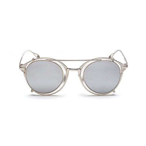 Desmontable de Rayas Yxsd de Color Proteger Metal Aviator Blanco Blanco a Sol Ojos Punk los SunglassesMAN Gafas Unisex Retro ER8xpARnqw
