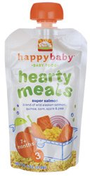 Happy Baby Organic Baby Food 3 Homestyle Meals, Super Salmon, 4-Ounce Pouches (Pack of 4)