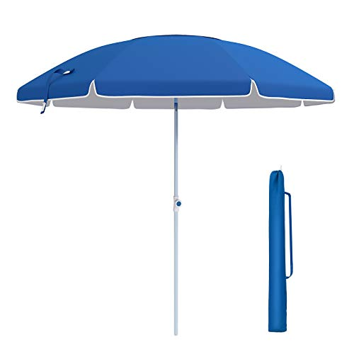 SONGMICS 7ft Fiberglass Beach Umbrella, Heavy Duty Outdoor Sports Umbrella, Sun Shade with Tilt Mechanism, Carry Bag - for Beach, Gardens, Balcony and Patio Blue UGPU07BUV1