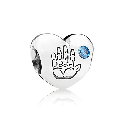 Romántico Amor Baby Boy Fingerprint on Heart Charm Blue CZ 925 Sterling Silver Bead for Pandora Bracelet