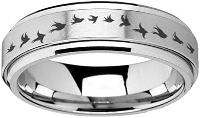 RQZQ Ring Aves Migratorias Plata Acero Inoxidable Spinning Anillos ...