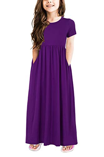 Gorlya Girl's Short Sleeve Floral Print Loose Casual Holiday Long Maxi Dress with Pockets 4-12 Years (11-12Years/Height:150cm, Purple Color)