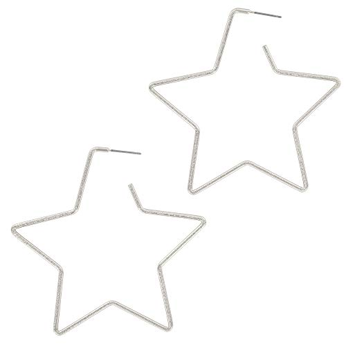 And Lovely Rhodium Dipped Star Earrings - Hypoallergenic Lightweight Fun Statement Drop Dangle Earrings (Brushed Silver Star Hoop)
