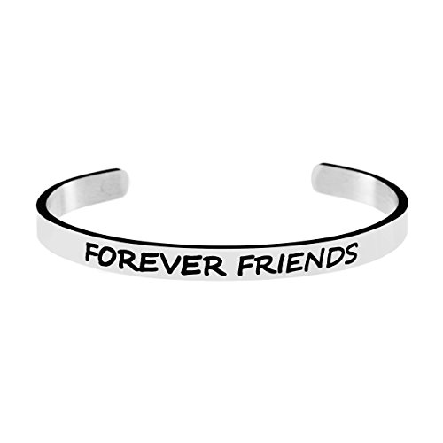 - Joycuff Forever Friends Jewelry Friendship Mantra Quotes Engraved Cuff Bracelet Bangle Stainless Steel