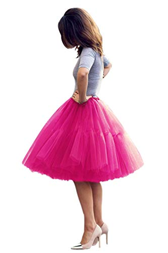 Women's 50s Vintage Rockabilly Tulle Prom Party Tutu Skirt(Rose,One Size) ()