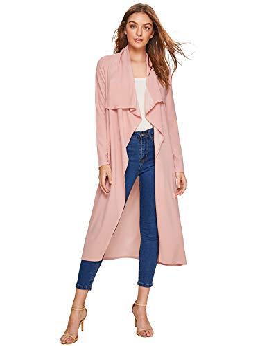 (Verdusa Women's Casual Long Sleeve Lapel Outwear Duster Coat Cardigan Pink XXL)