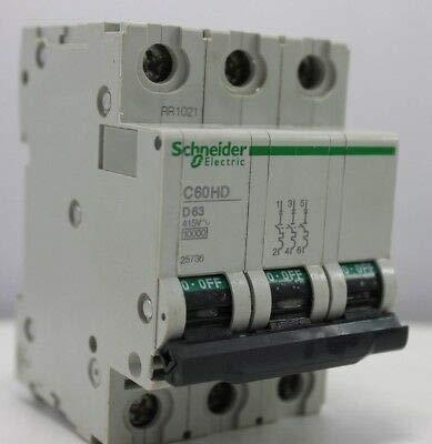 Schneider C60HD D63 25736 MCB Triple Pole 63 Amp Type D