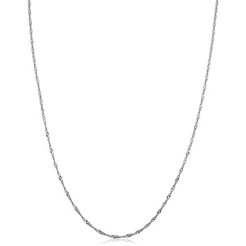 14k White Gold Singapore Chain Necklace (1mm, 24 inch)