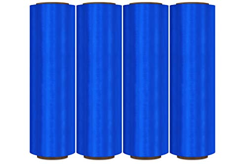 (Pre-Stretch Wrap, Plastic Shrink Wrap, Blue, 17 Inch x 1476 Feet, 32 Gauge, 4 Pack)