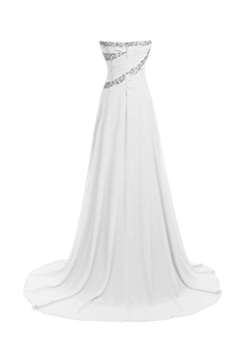 linea A Line da Sweetheart Pageant sera della elegante abiti Vestito Sunvary Bianco lungo Ewqg66