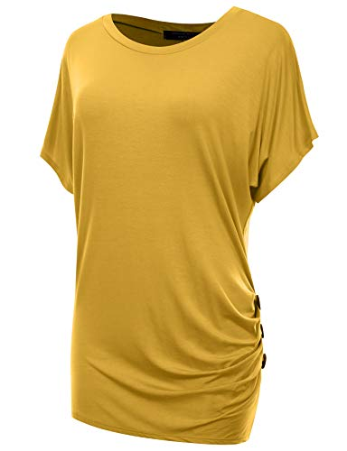 A.F.Y Women's Dolman Shirred Button Side 3/4 Sleeve Tunic Top_MUS_XL Mustard