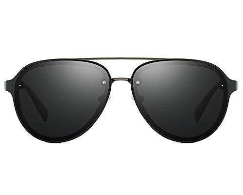 60mm Aviator Polarized Sunglasses Vintage Retro Semi-rimless Teardrop Frame (Black, ()
