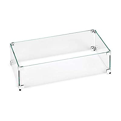 "American Fireglass Tempered Glass Flame Guard for 30"" X 6"" Linear Drop-in Fire Pit Pan"