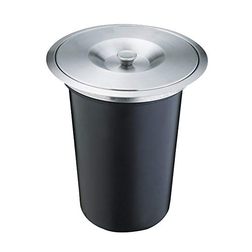 (LEYIJU Trash Can Concealed in The Cabinet, Trash Can for Work Surfaces, Countertop Embedded, Stainless Steel Lid + Plastic Bucket, Size 26.5Cm × 29.5Cm, Black,Capacity(8L) )