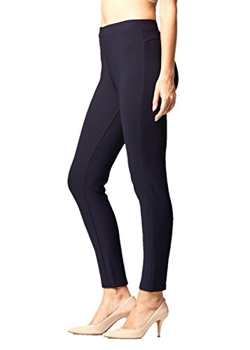 Premium Women's Stretch Ponte Pants - Dressy Leggings with Butt Lift - Navy Blue - Small/Medium ()