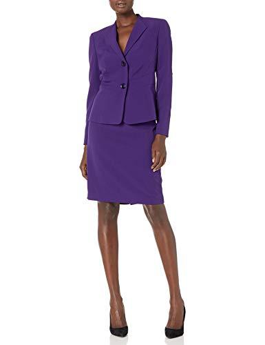 Le Suit Women's Two Button Wing Collar Crepe Slim Skirt Suit, Plum, 16
