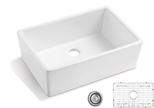 Farmhouse Kitchen 24 Farmhouse Sink ALWEN Single Bowl Kitchen Sink, White Ceramic Sink with Stainless Steel Grid and Strainer farmhouse kitchen sinks