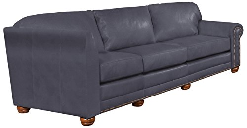 Omnia Leather Dominion Right Arm 3 Cushion Sofa in Leather with Left Return, with Nail Head, Guanaco Grey