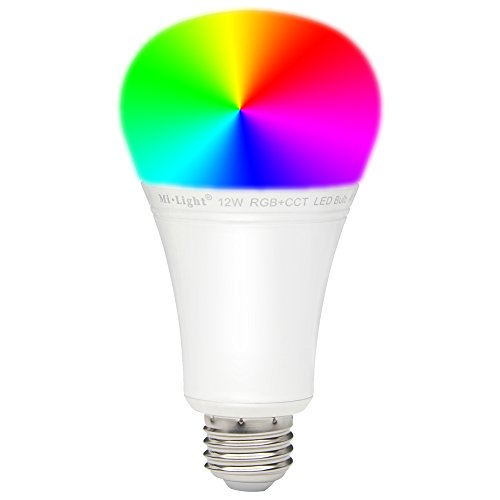 Mi.Light 12W RGBWW Smart 2.4GHz RF WiFi Led Light Bulb E26 RGB+CCT Color Changing And Color Temperature Changeable Must Work With 8-Zone Remote(Not Included)Or Smartphone APP Control Via WiFi iBox Hub