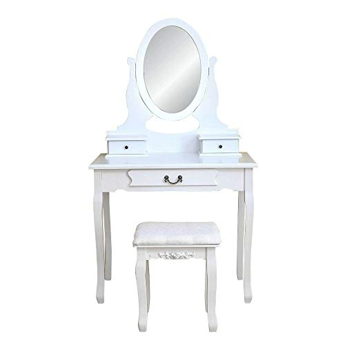 Chic Lovery 4289 White MDF Wood Modern Elegant 3 Drawer 1 Mirror Vanity Makeup DressingTable 1 Stool Storage Case Queen Anne Style Leg Home Decor Jewelry Cosmetic Beauty Supply Bedroom Girl Furniture ()