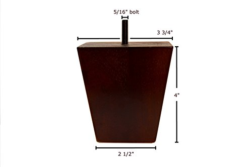 4 Inch Wood Furniture Legs Squared Tapered Finish, Set of 4. Great Sofa Legs with Mid-Century Modern Style, IKEA Conversion Kit Also Suitable for Coffee Table and Bed Legs.