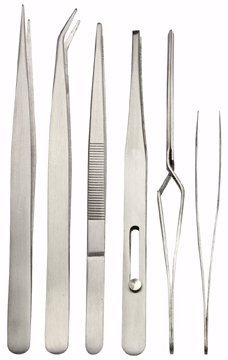 6 Piece Fine Point Tweezer Set for Electrical, Soldering by HFT