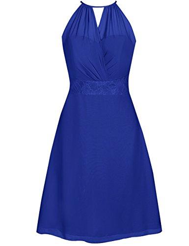 (EDressy Halter Bridesmaid Dresses Short Chiffon Prom Homecoming Dress Wedding Party Gowns RoyalBlue US 4)