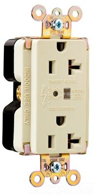 Pass & Seymour Ivory TVSS Surge Receptacle Outlet w/ ALARM LED 20A 5362-ISP