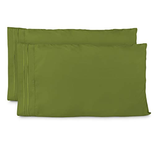 - Cosy House Collection Pillowcases King Size - Olive Green Luxury Pillow Case Set of 2 - Premium Super Soft Hotel Quality Pillow Protector Cover - Cool & Wrinkle Free - Hypoallergenic