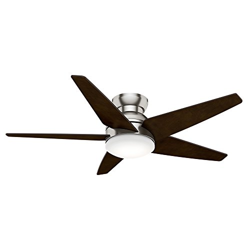 Casablanca Indoor Low Profile Ceiling Fan with LED Light and wall control - Isotope 52 inch, Brushed Nickel, - Casablanca Light