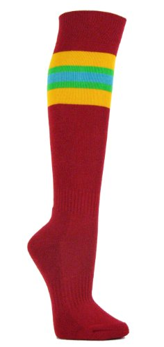 Couver Gold Yellow / Bright Green / Sky Blue Strip on Dark Red Knee High Sports Socks, Medium