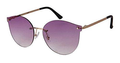 Edge I-Wear Rimless Cat Eye Sunnies with Flat Ocean Color Lens - Sunglasses Rimless Monoblock