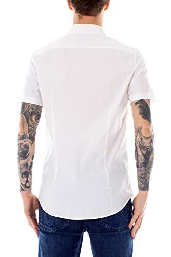 J30j312324 Bianco Slim Corta Klein Stretch Uomo Bari Camicia Manica Calvin Jeans w14xSz