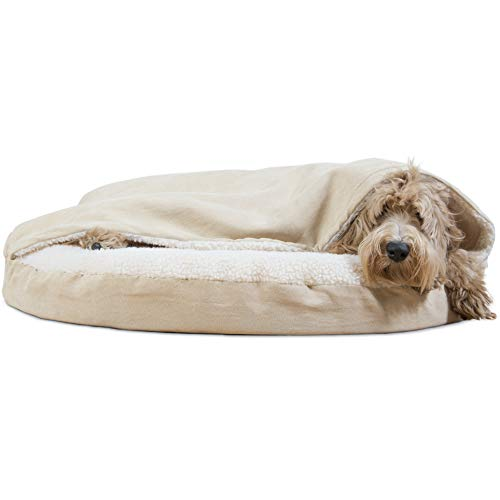 Furhaven Dog Bed | Orthopedic Round Cuddle Nest Faux Sheepskin Snuggery Burrow Pet Bed for Dogs & Cats, Cream, 35-Inch