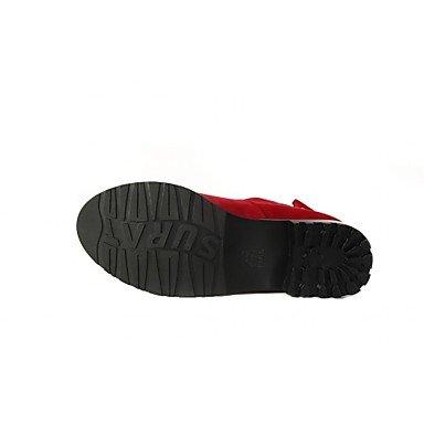 Décontracté Talon cm Confort 4 Bottes Nouveauté Femme Noir Bottes 5 red Similicuir à amp;xuezi à 2 Rouge GLL Printemps Noeud Mode Hiver Plat 5 la gqw7At6F